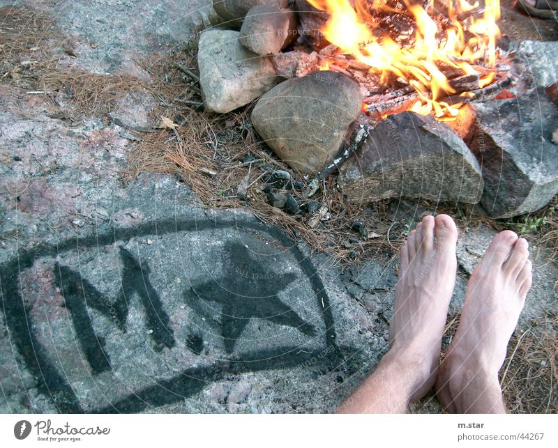 Chilling at the campfire Relaxation Camping Logo Human being Fireplace Blaze Feet Legs m.star