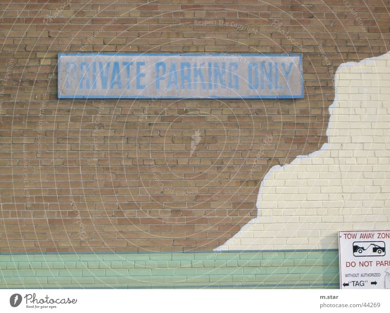 private parking only Parking lot Canada Private Wall (building) Street sign Transport Car Blue Signs and labeling