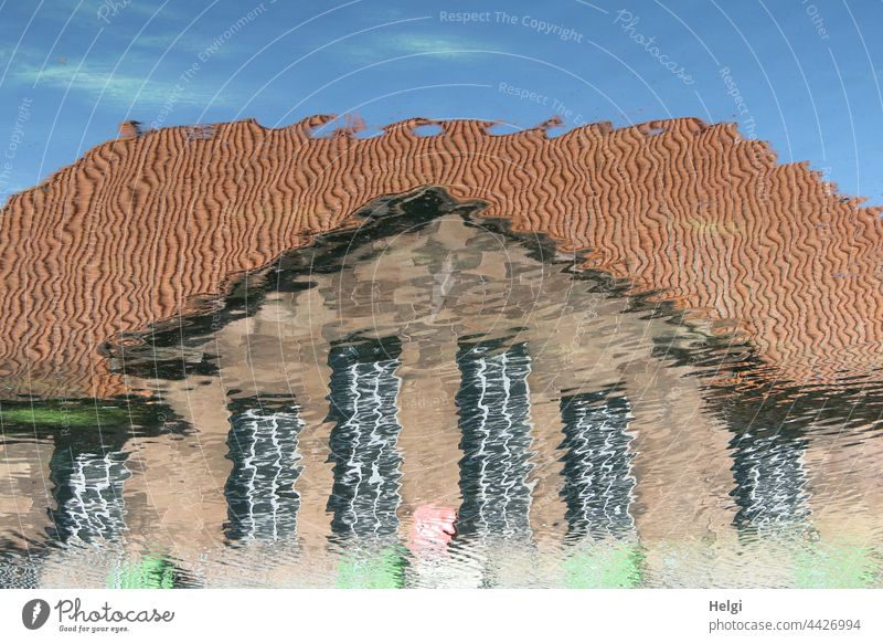 Watercolor - Reflection of a house in the water House (Residential Structure) Building Architecture reflection surreal Facade Window Roof Sky Deserted