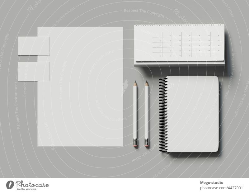 3d Stationary branding. Corporate identity business stationary corporate mockup white document blank template background set stationery paper presentation card