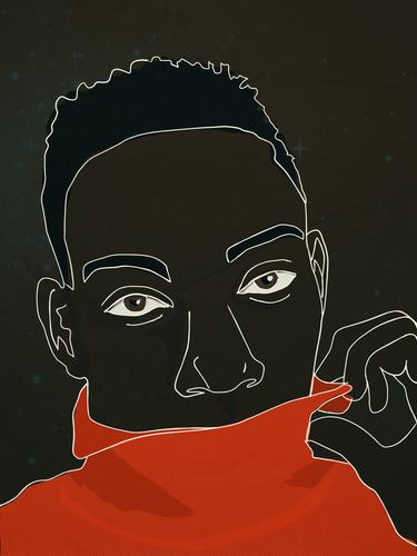African man flirting african androgynous flirty romance LGBT red sweater soulful eyes line drawing illustration minimal portrait young man love looking for love