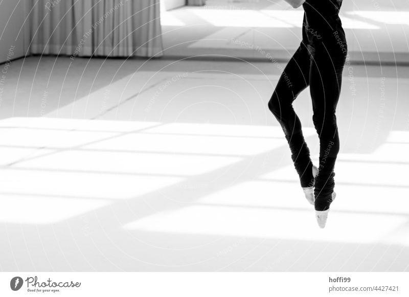 graceful leap of a ballerina Ballerina Ballet ballet workout Feet together leg Muscular Elegant Dance Dancer Woman Legs Practice Youth (Young adults) Girl