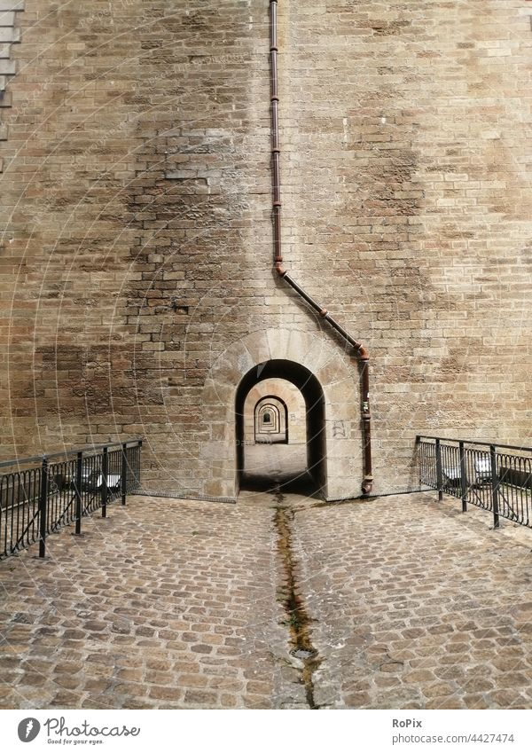 Footpath in the viaduct of Morlaix. Wall (barrier) stone blocks Wall (building) rampart Sandstone Architecture City wall Town urban Truck castle masonry manner