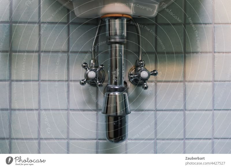 Siphon, taps, water pipes of a sink in front of small square tiles Soda siphon Tap Sink Bathroom bathroom Wash Transmission lines Effluent Porcelain Clean Tile