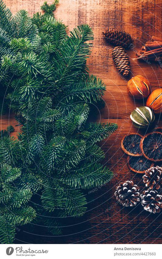 Process of making christmas wreath xmas merry christmas handmade pine pine cones citrus fir new year green celebration diy hobby rustic zero waste eco friendly