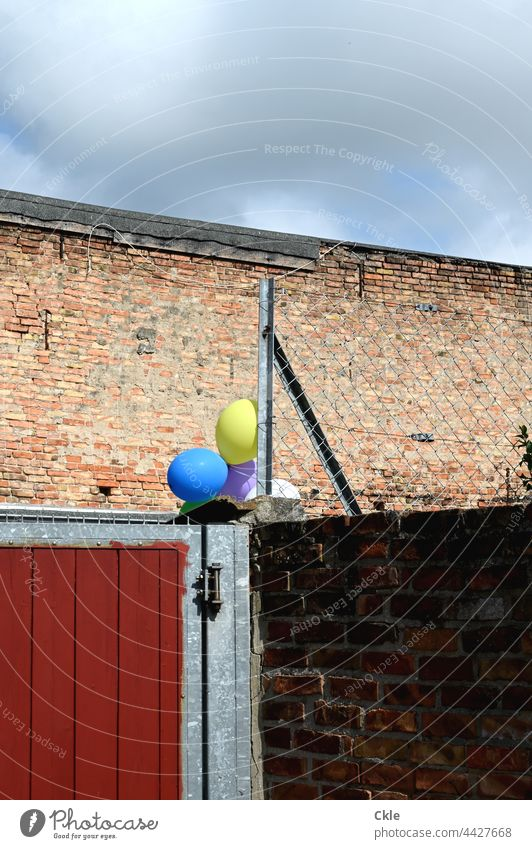 Gate and fence and wall with balloons Goal Wall (barrier) Fence masonry Metal Safety completed Closed Protection Structures and shapes Grating Barrier Backyard