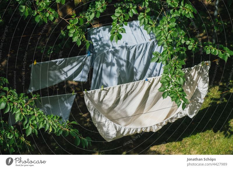 Bed linen drying on the clothesline outside in the garden Laundry hanging up laundry dry laundry Dry Wind Garden Courtyard Backyard Meadow Tree twigs branches
