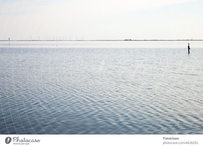 View of the water of a fjord Water Fjord Waves Calm reflection Land in sight windmills Denmark Nature Vacation & Travel Deserted Esthetic coast Horizon Pole