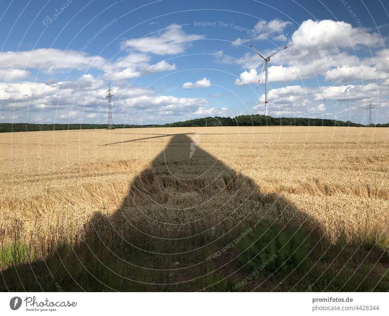 Energy transition: The shadow of a wind turbine falls on a grain field. Photo: Alexander Hauk energy revolution Pinwheel Wind Grain Grain field Exterior shot
