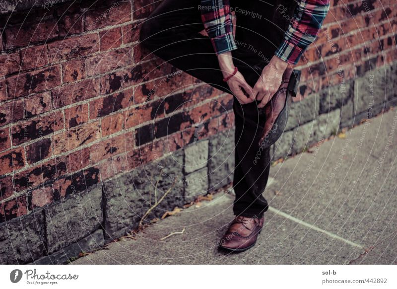 wait up Human being Youth (Young adults) City Adults Young man 18 - 30 years Wall (building) Wall (barrier) Style Legs Fashion Brown Masculine Elegant Footwear