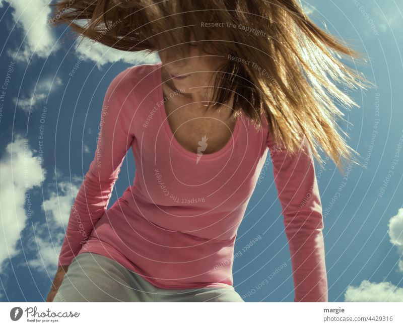 A woman with waving hair Woman Face of a woman Sky Clouds Hair and hairstyles Young woman Feminine Human being Youth (Young adults) Slim T-shirt Colour photo