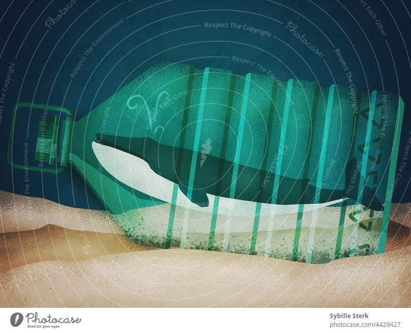 Whale in a recyclable bottle at the bottom of the sea whale plastic bottle climate crisis ecology recycling sealife