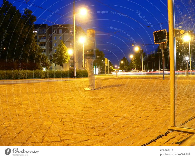 blue sky Dresden School trip Night Dark Black Yellow Woman Lamp House (Residential Structure) Long exposure Evening Blue star Pole Paving stone