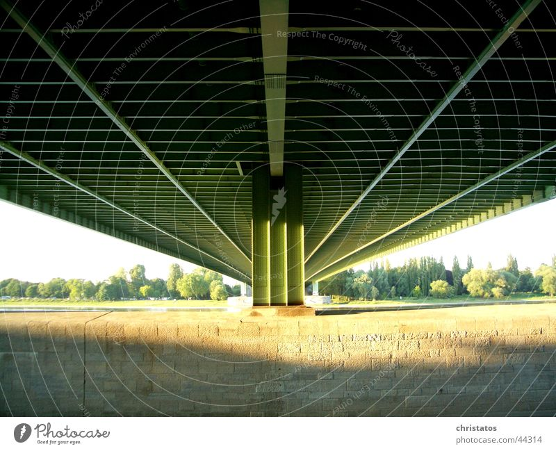 A4 across the Rhine in Cologne Highway Steel Green Manmade structures Tree Sunlight Light Bridge Under a bridge Water Nature Shadow Stone Coast