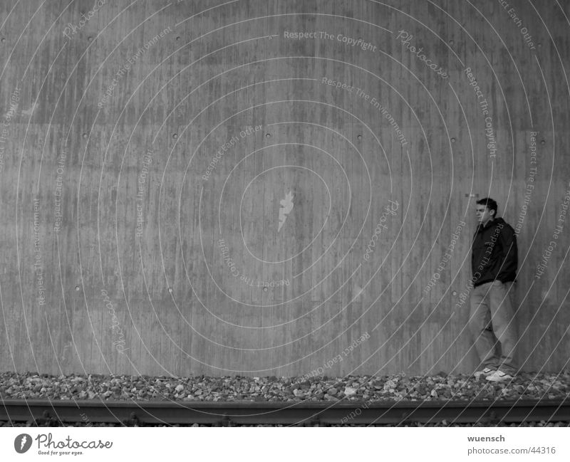 wish I Black White Wall (building) Style Man Black & white photo Pascal wishy-washy Human being