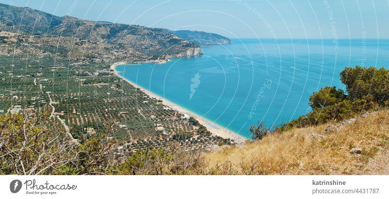 Panoram view of marina of mattinata beach in Puglia, Italy Panoramic sea Gargano Copy space seascape Landscape road summer coast Landmark Adventure Sport Scenic