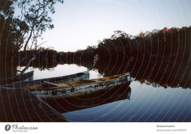 Nature Water Vacation & Travel Calm Loneliness Relaxation Lake Hiking River Footbridge Camping Jetty Brook Australia Canoe