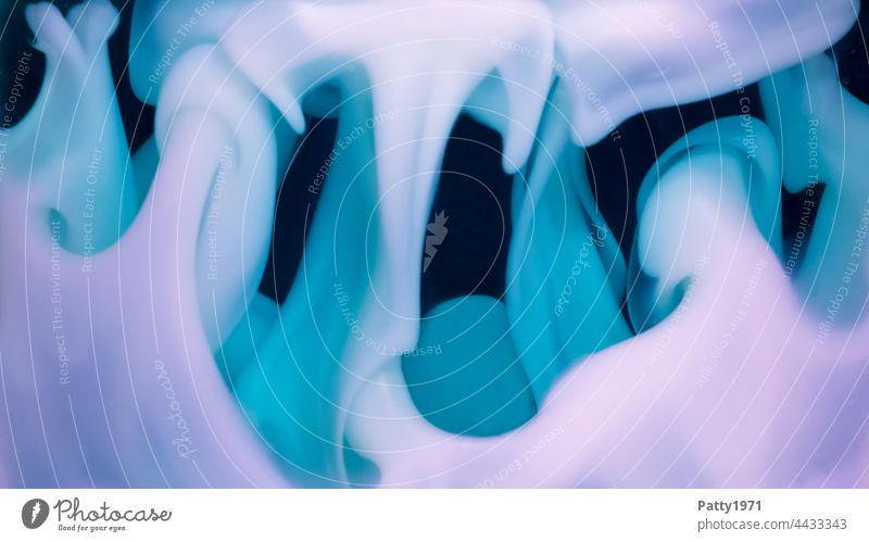 Wafting liquid soap melts. Abstract background. Soap billow Soft Organic Turquoise purple Close-up psychedelic Fluid Structures and shapes Schlieren waxy