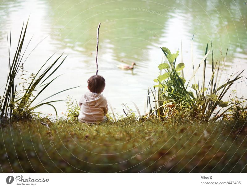 Human being Child Summer Relaxation Loneliness Calm Meadow Emotions Boy (child) Playing Lake Moody Leisure and hobbies Infancy Sit Wait