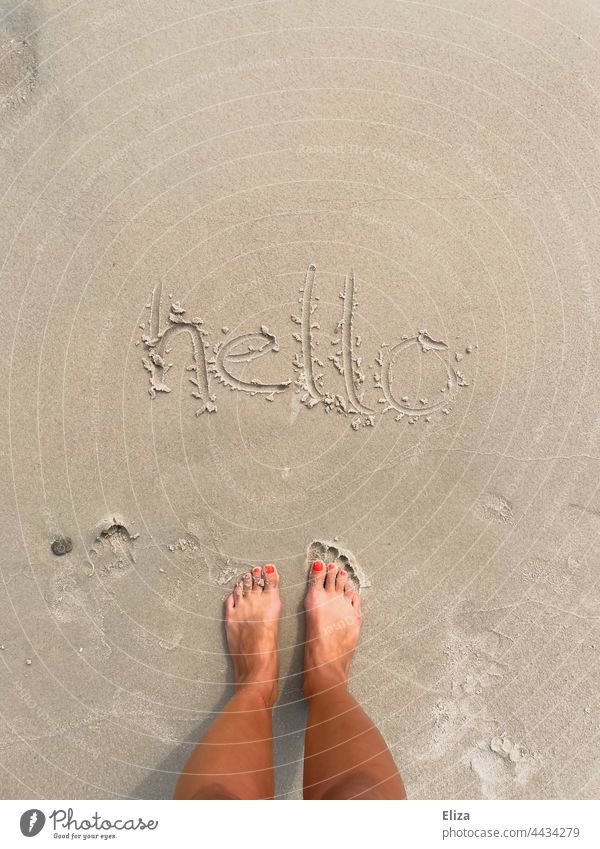 hello written in the sand on the beach Hello Sand Beach Welcome vacation feet holidays Sandy beach Exterior shot Barefoot Summer Woman Summer vacation authored