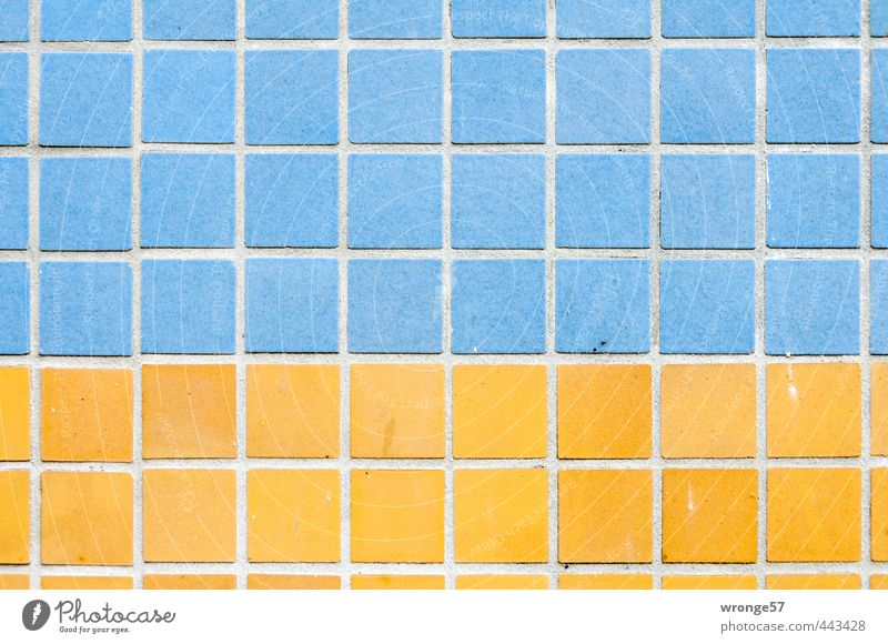 tile design House (Residential Structure) Building Prefab construction Wall (barrier) Wall (building) Facade Sharp-edged Hideous Town Blue Yellow Tile Square