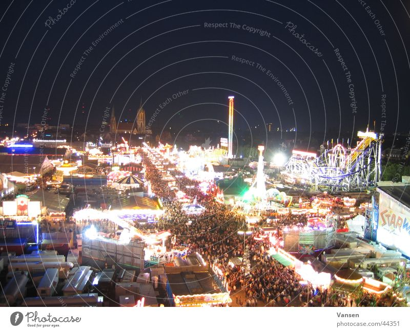 Oktoberfest from above Night Exposure Light Leisure and hobbies Feasts & Celebrations