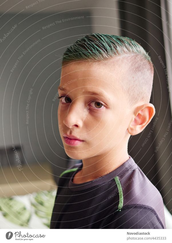Portrait of an 8 year old boy with green hair Portrait photograph Face Human being Boy (child) Child Infancy Caucasian Cute kid one Beautiful young casual