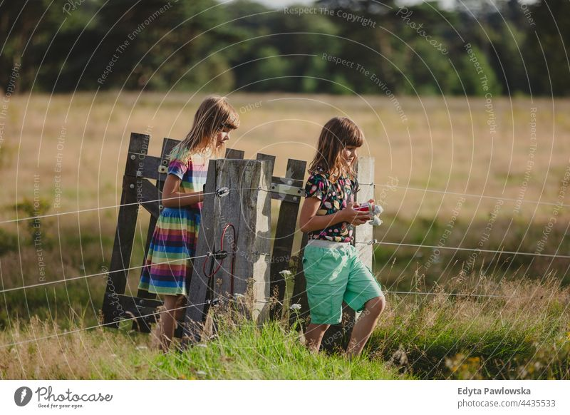 Children walking through a wooden gate in a field fence active activity adventure autumn child childhood children countryside enjoying family farm female forest