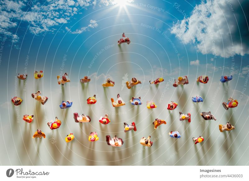 Followers towards the sun. Leader. Crowd following. Followers. Business and leadership concept for the leadership team, social distancing due to the Covid-19. Reducing the spread of the coronavirus.