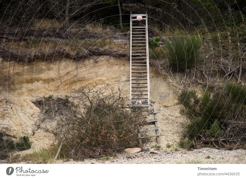Caution. ADGANG FORBUDT Ladder interdiction Signage Prohibition sign Beach duene break-off edge shrubby Sand stones Denmark No trespassing