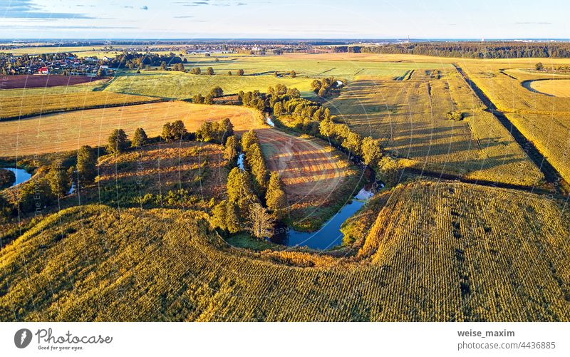 Sunny autumn landscape. Meadows, river, village, dirt road Belarus. Corn harvest. field september aerial agriculture corn panorama countryside farm view outdoor