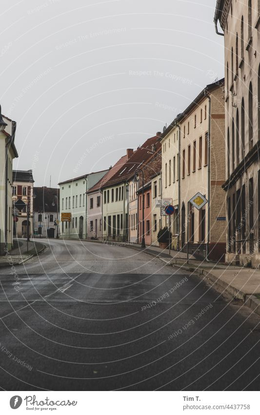 a road through a town in Lusatia Lausitz forest Brandenburg Street location Deserted Exterior shot Colour photo Day Copy Space bottom Sky Germany