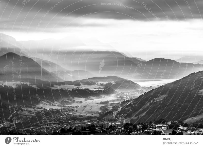 Cold veils of mist over the Enns valley Landscape Panorama (View) Nature Fog Morning Loneliness Hill Harmonious Relaxation Hope Calm Humble Mountain