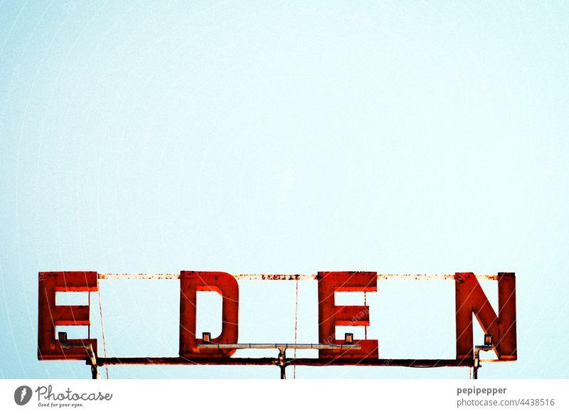 EDEN jenseits von Eden Schild Neon light Buchstaben Typography typo typographically schrift Letters (alphabet) Neon sign Signs and labeling Colour photo Facade