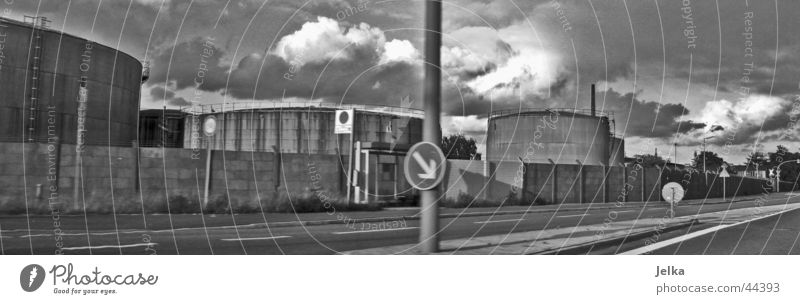 Hamburg industry Industry Street Sign Signs and labeling Road sign Loneliness Silo Warehouse Tank Storage Black & white photo