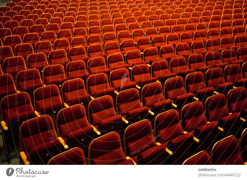 Theartersaal Theatre Hall theatre hall Chair Row Row of chairs Folding chair Empty Deserted Audience Closed closing time Bolster upholstered seats Seat