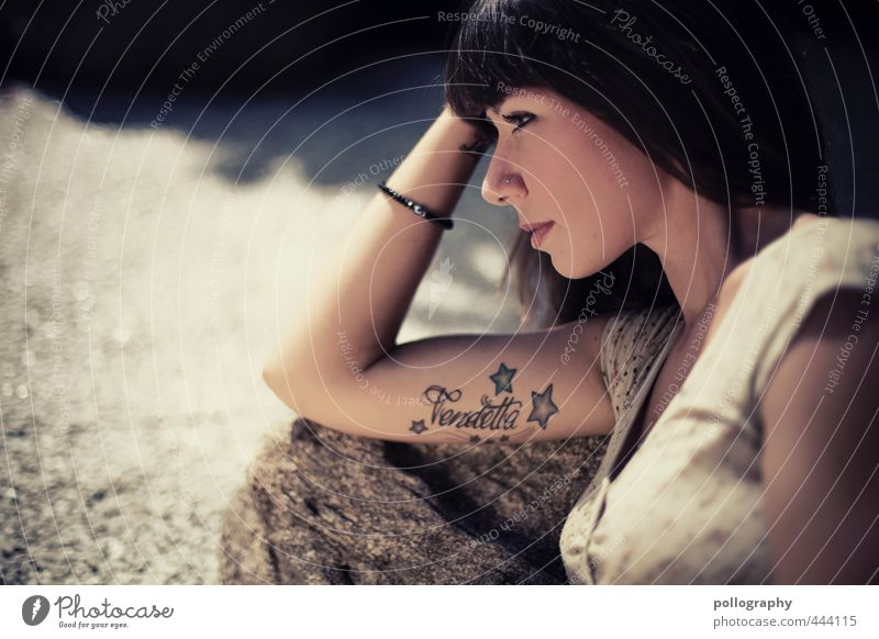 Human being Woman Youth (Young adults) Beautiful Summer Young woman Adults 18 - 30 years Life Feminine Emotions Stone Head Rock Power Arm