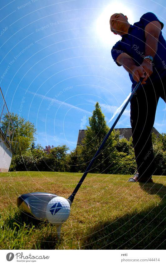 Scottish Callaway Golf ball Tee off Golfer Sports Scotsman driver stroke In backlight big stroke Tea Aufgeteet Box office hit big drive