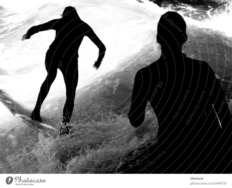 shadowsurfer Black & white photo Exterior shot Shadow Silhouette Full-length Life Surfing Surfboard Waves Sports Aquatics Human being 2 Water Waterfall Munich