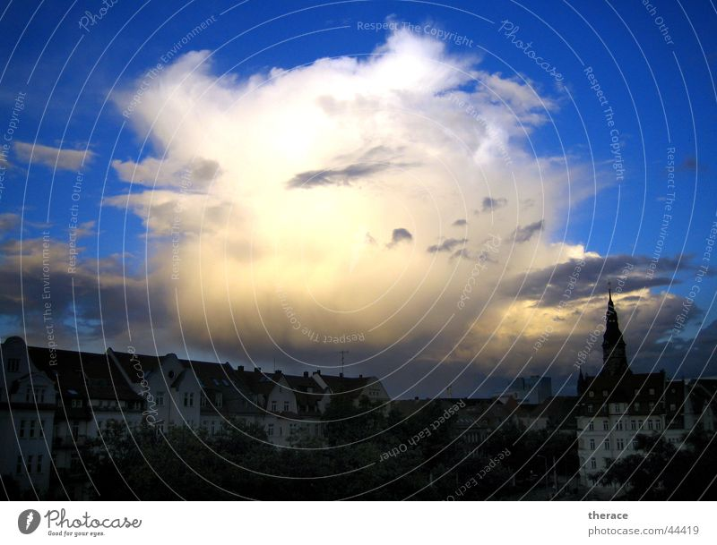 huge portion Sky White Clouds Might House (Residential Structure) Leipzig Gohlis Absorbent cotton Cumulus Blue Large Gigantic oversized Street Looking view