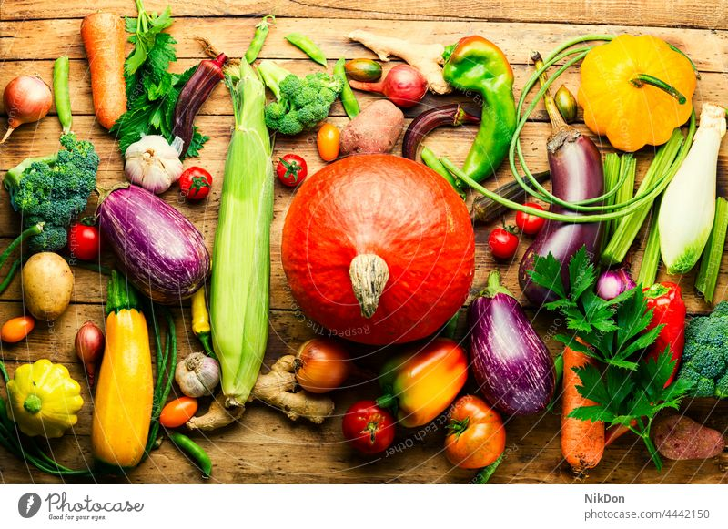 Raw vegetables on rustic wooden background set group vegan raw assortment mix vegetables set fresh variety many food green vegetarian vitamin tomato collection