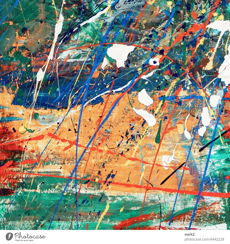 Omni Work of art Painting and drawing (object) Crazy Wild Bizarre Force Chaos Orange Blue Rebellious White Energy Colour photo Muddled Multicoloured Abstract