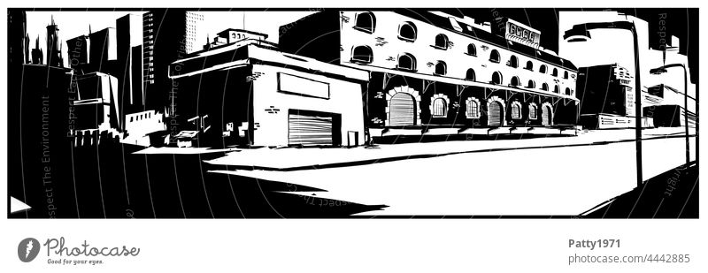 Abstract black and white illustration of an urban, abandoned cityscape Illustration Street Architecture Depot Minimalistic Building Panorama (Format) Contrast
