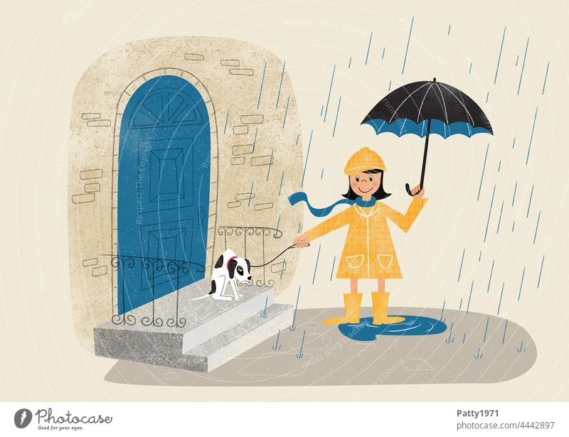 Retro style illustration of a girl with umbrella trying to walk her reluctant puppy in the rain Girl Dog Rain Umbrella Walk the dog Bad weather refusal