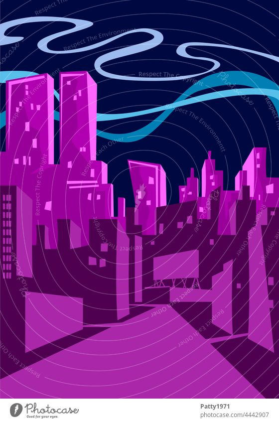 Flat design illustration - Skyline of a big city at night flat design Night City High-rise Street Abstract Building Architecture Tower urban slanting Drawing