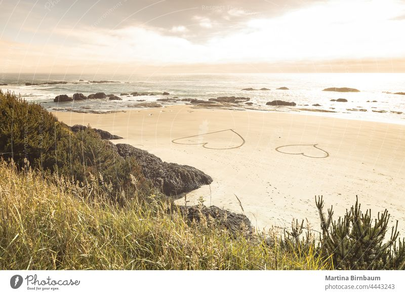 Two hearts in the sand on the Pacific Coast, Oregon seashore symbol two travel beach ocean valentine island day vacation romantic summer love honeymoon holiday