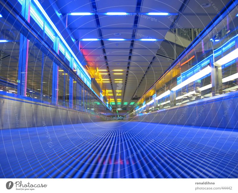 Blue Lighting Architecture Airport Escalator Moving pavement