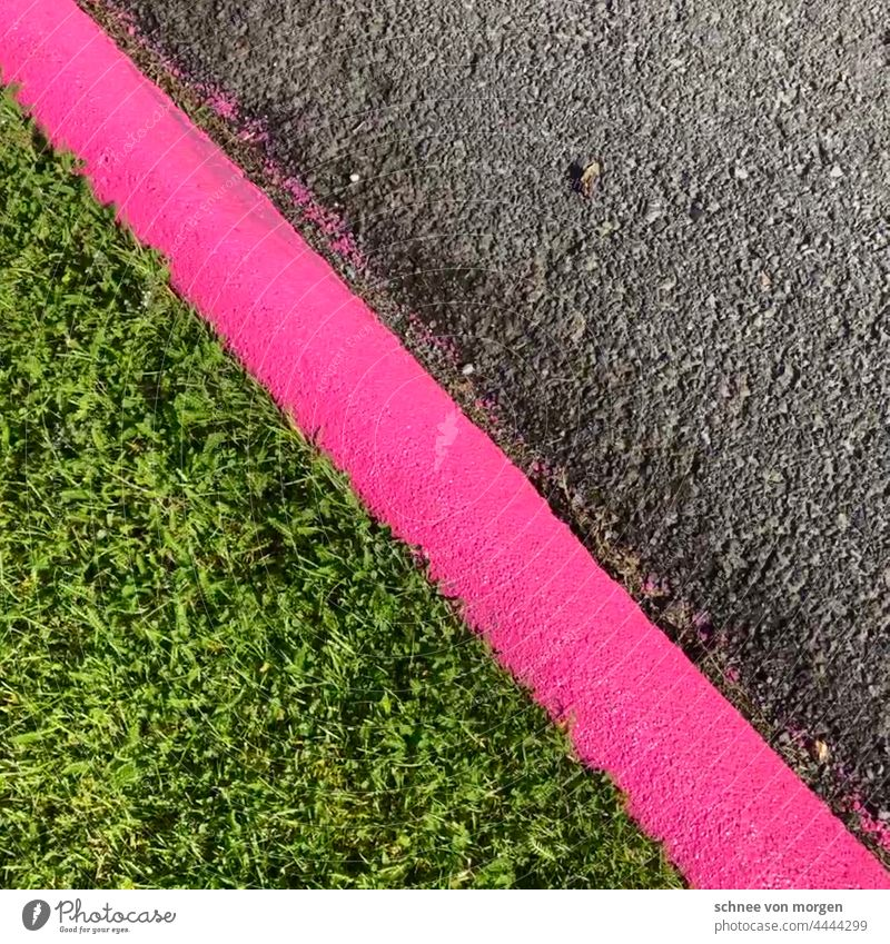 line up Street pink Lawn off Caution edge mark Direction Sign Left Line Lane markings Corner