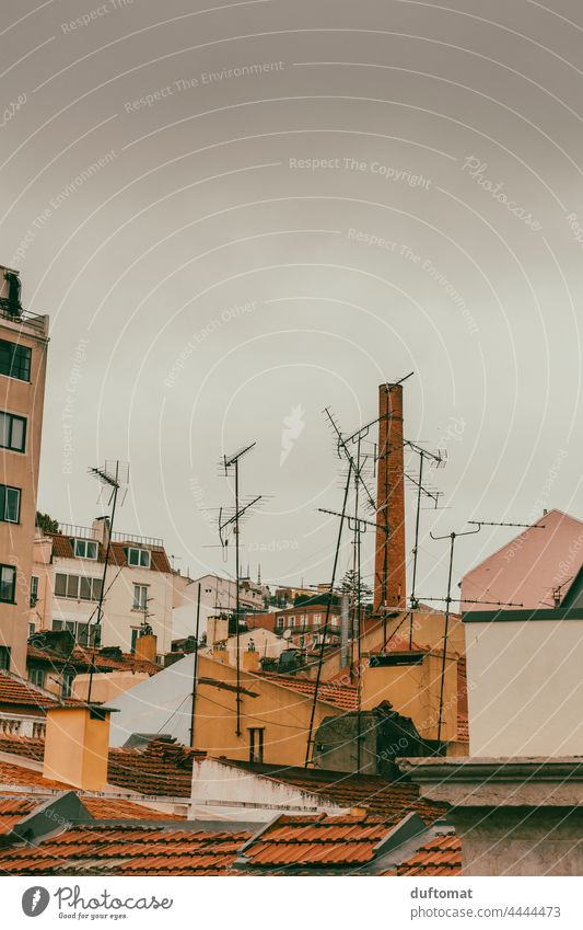 View of antennas and houses in backyard of Lisbon Old building Backyard Southern Upward Roof House (Residential Structure) Attic story Vent Architecture