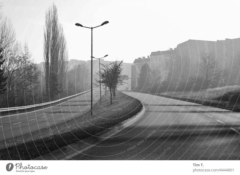 an empty street in Frankfurt/Oder in autumn Frankfurt Oder b/w Street Black & white photo Architecture B/W Exterior shot Day Deserted B&W Loneliness Calm